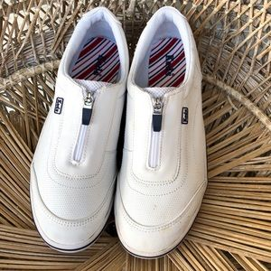 Keds Ortholite White Leather zip up Size 7.5